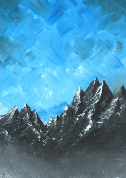 art general Mountains, Acrylic, blue, black, grey, landscape, Birthday, thank you, congratulations, landscape, vibrant personalised online greeting card