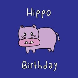 General Children Happy birthday Hippo happy him her boy girl jungle lazy kawaii animal zoo bright colours cute personalised online greeting card