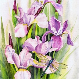 General dragonfly, pink, irises, dusky pink, floral, flowers personalised online greeting card