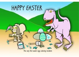 Easter funny humour dinosaur eggs personalised online greeting card