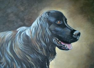 art Newfoundland dog fine art portrait pet dogs personalised online greeting card