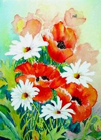 art artwork poppy poppies daisies flowers   for-her personalised online greeting card