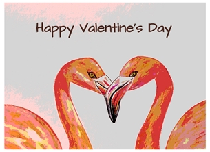 Valentine artwork flamingos wildlife birds for-her personalised online greeting card