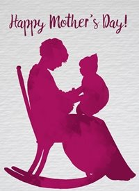Mothers purple woman grandmother mother young child happy rocking chair watercolour made with love raluca curcan personalised online greeting card