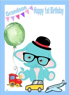 birthday children Elephant Balloon Train Plane Car Glasses Hat Blue White Red Green  personalised online greeting card
