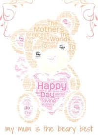 mothers mothers day, bear  personalised online greeting card
