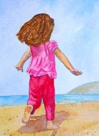 General artwork beach child girl sea  pink summer for-children personalised online greeting card