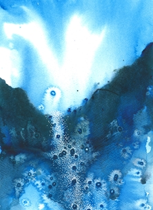 Alison Issitt Falls Art general Blue, waterfall, landscape, watercolour, Birthday, thank you, congratulations, vibrant, watercolour, blue personalised online greeting card