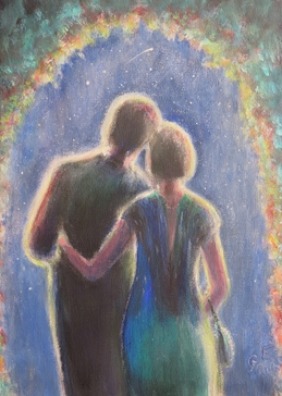 art general couple, in love, stars, star gazing, night sky, make a wish, shooting star,  personalised online greeting card