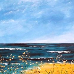 Art artwork seascape beach sea for-her personalised online greeting card