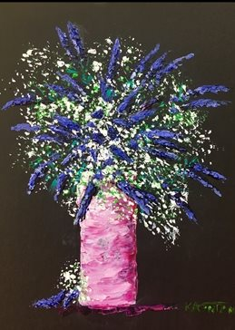 arty artistic  contemporary lavender, gypsophila, pinks, blues, purples, rose, whites, still life, impasto, palette knife, original, flowers, floral, bright, colourful, cheerful personalised online greeting card