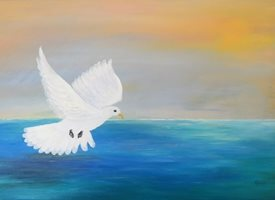 Karen J Jones Peace Descending art Peace, Dove, Holy Spirit, Christian artist, God, Christianity, spirituality, Easter, Christmas, lady, mums, dads, biblical, Genesis, mothers, fathers, sons, daughters personalised online greeting card