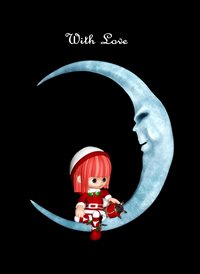 General Girl Moon Black Blue Red  z%a personalised online greeting card