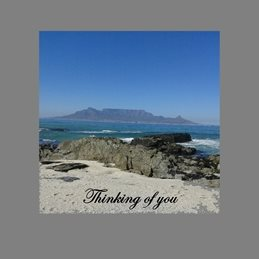 Thinking for-him, for-her, sand, sea, table mountain personalised online greeting card