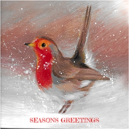 Christmas Robin painting Christmas greeting fine art hand painted personalised online greeting card