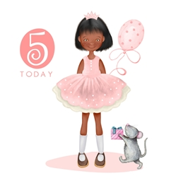 Birthday Age 5, Girl, Cute, For-Her personalised online greeting card