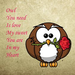 valentines for-her, owl, rose, love, animals personalised online greeting card