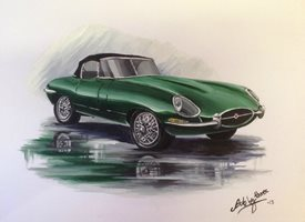 Art By Three  E type jag fineart for-him Jaguars cars  green E-types general blank all occasions for-him boyfriends dads uncles brothers birthdays  vintage british still life automobiles wheels fineart fathers  personalised online greeting card