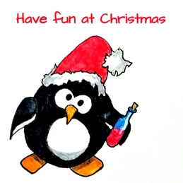 Christmas artwork penguins animals wine drink personalised online greeting card