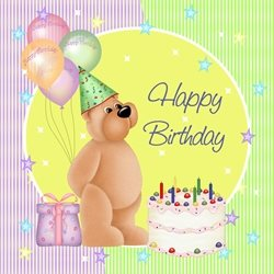 Birthday Children Bear, cake, food, candles, balloons personalised online greeting card