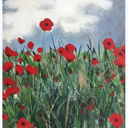 art Poppies flowers personalised online greeting card