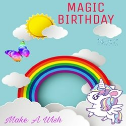 Bellacards Childrens Children Birthday Rainbow, unicorn, colourful, clouds, sunshine, magic, fantasy, butterfly personalised online greeting card