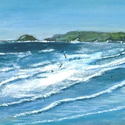 art Surfing Perranporth Cornwall Sport Watersport Seascape Sea Summer Coast Beach z%a personalised online greeting card