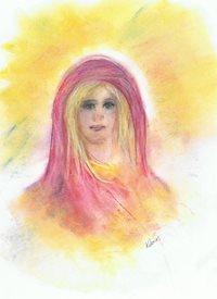art angel art, portrait, lady, girl, angelic, aura, spiritual, pretty woman, yellow, pink, pastel drawing, mum. daughter, mother's day, birthday, Christmas, new age personalised online greeting card