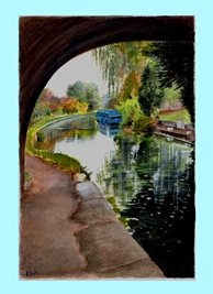 Art boat canal scene personalised online greeting card