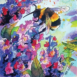 Andrew Alan Art Drink up, little bee art bumble bee, bees, bees on flowers, thinking of you, birthday bee, birthday cards, for her, grandma, mum, honey bee, insects, valentine, valentine's day personalised online greeting card
