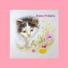 Wildart Curiosity Birthday kitten butterfly personalised online greeting card