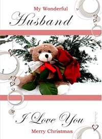 Quirkytags... HUSBAND CHRISTMAS BEAR Christmas Husband Bear Roses Flowers Snow Hearts love z%a personalised online greeting card