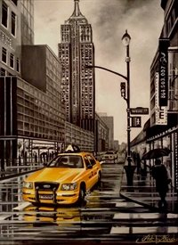 Art By Three  New York Cab  personalised online greeting card
