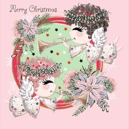 Christmas Cute, Angels, Music, Floral, Musical Angels personalised online greeting card