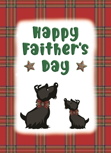Scottie Dogs - Happy Faither's Day - Personalised Scottish Banter Greetings Card