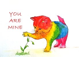 Pride  artwork LGBT gay homosexual  cat for-him for-her personalised online greeting card