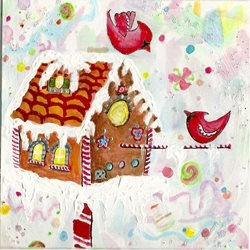 Christmas gingerbread, cardinals, icing, candy, winter, gingerbread man, hand painted, bright, colorful, painting, birds, cookies, pastries, yule, winter solstice, hearts, love, couples, mum, pop, cottage, house, log cabin, confetti, mixed media personalised online greeting card