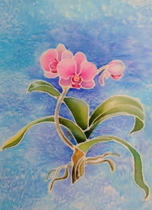 art flowers, orchid, floral personalised online greeting card