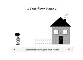 Lulu, Bobs & Roo New Home Stickman Home New home, stickman, card, congratulations personalised online greeting card