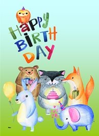 birthday Owl Fox Animals Bear Rabbit Elephant Orange Blue Green Pink Yellow Grey  personalised online greeting card