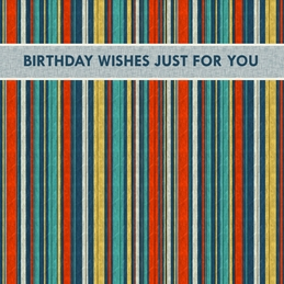 Snappyscrappy Birthday Card Birthday Stripes, for-him, for-her, multi colour personalised online greeting card