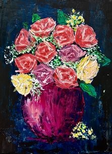 Kay Ashton Fine Art Peachy Keen (no border) arty artistic  contemporary , roses, gypsophila, pinks, blues, oranges, yellows, creams, peach, rose, still life, impasto, palette knife, original , flowers, floral, bright, colourful, cheerful personalised online greeting card