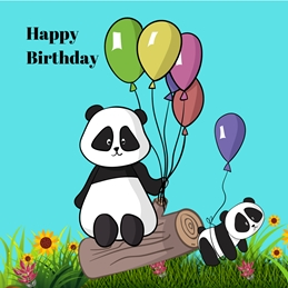 Her Nibs  Birthday Pandas personalised online greeting card