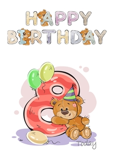 Birthday children For Children Water Colour Teddy Age 8 personalised online greeting card