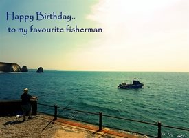 Wonky Doodle Designs Happy birthday to my favourite Fisherman Birthday Fishing man seaside dreaming z%a personalised online greeting card