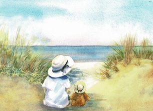 General child, seascape, beach, teddy, teddy bear, sand dunes, holiday, birthday personalised online greeting card