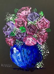 Kay Ashton Fine Art Clare's Bouquet II arty artistic  contemporary , roses, gypsophila, pinks, blues, purples, rose, still life, impasto, palette knife, original, flowers, floral, bright, colourful, cheerful personalised online greeting card