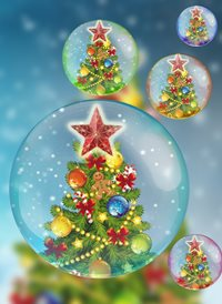 Christmas trees balls bubbles z%a personalised online greeting card