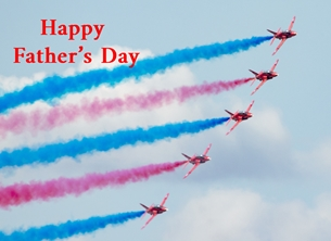 Fathers Fathers, Father's, dad, day, greetings, red arrows, smoke, red, blue, white, plane, jet, aeroplane, RAF personalised online greeting card