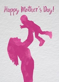 Mothers pink woman mother young child happy watercolour made with love raluca curcan personalised online greeting card